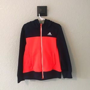 Adidas Bright Orange and Navy Blue Hooded Jacket
